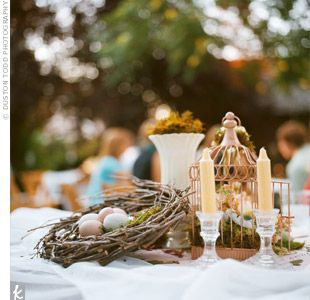 Love the couple translated their natural vintage theme with a love the couple translated their natural vintage theme with a various centerpieces junglespirit Choice Image
