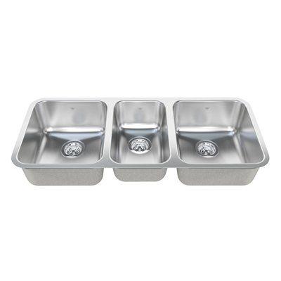 Kindred QTU1842/8 Steel Queen Undermount 42-in Triple Kitchen Sink ...