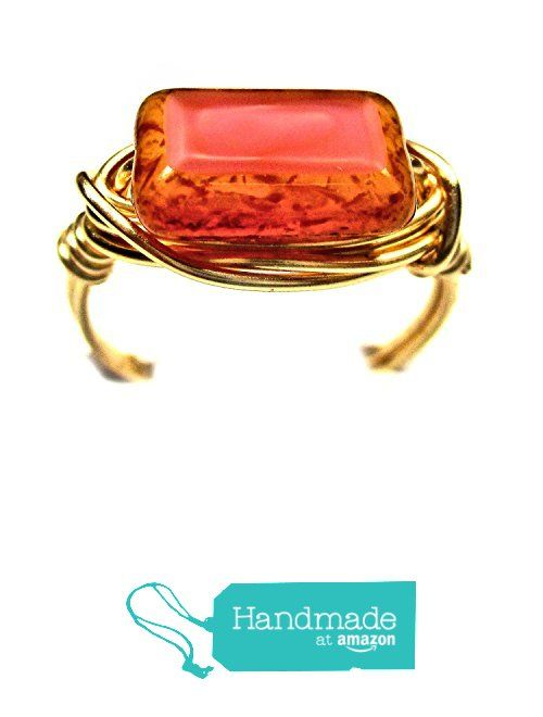 Coral Pink Picasso Czech Art Glass Wire Wrap Ring from Designer Wire Jewelry http://www.amazon.com/dp/B016FSA2LC/ref=hnd_sw_r_pi_dp_WRS8wb1E8QQG6 #handmadeatamazon