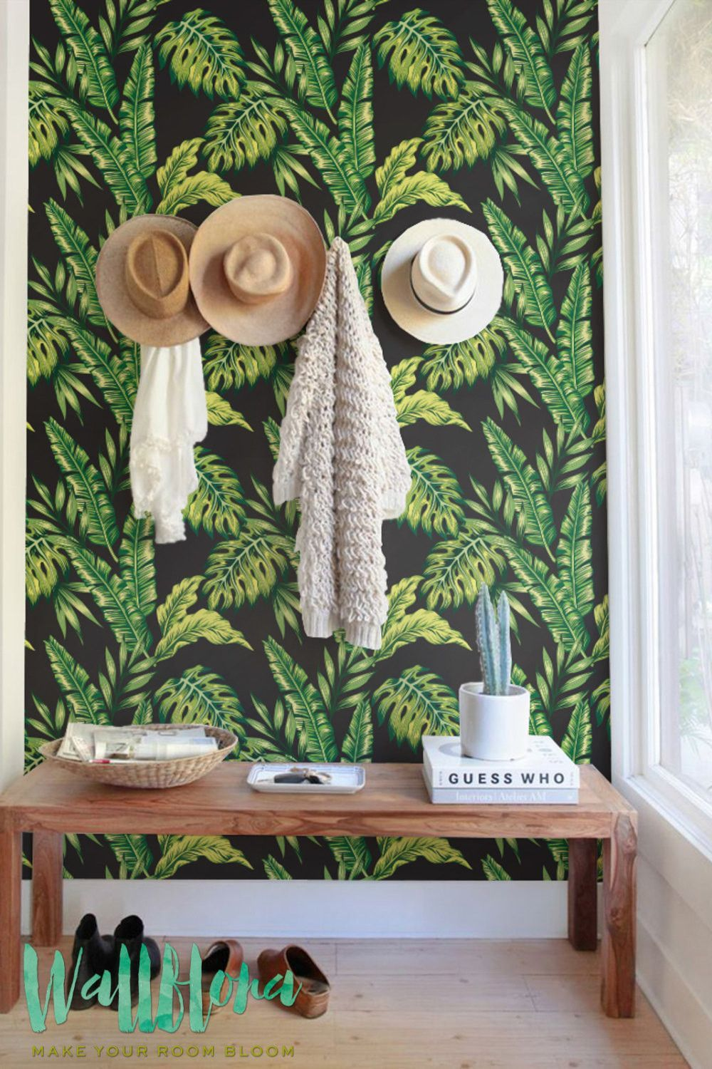 Monstera and cycca leaves wallpaper removable wallpaper self adhesive wallpaper temporary wallpaper wall sticker wall decal