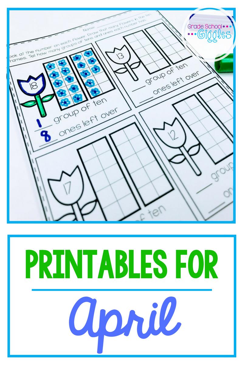 No Prep April Printables for Kindergarten | Ten frames, Kindergarten ...