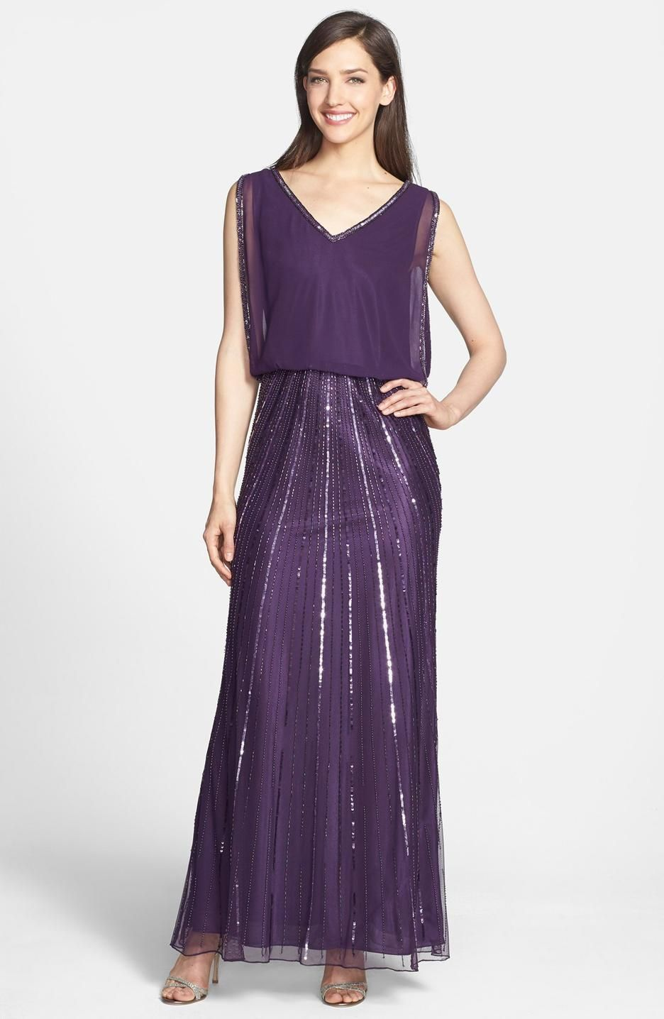 J Kara Embellished Mock Two-Piece Gown | Zyla Iridescent/Dusky ...