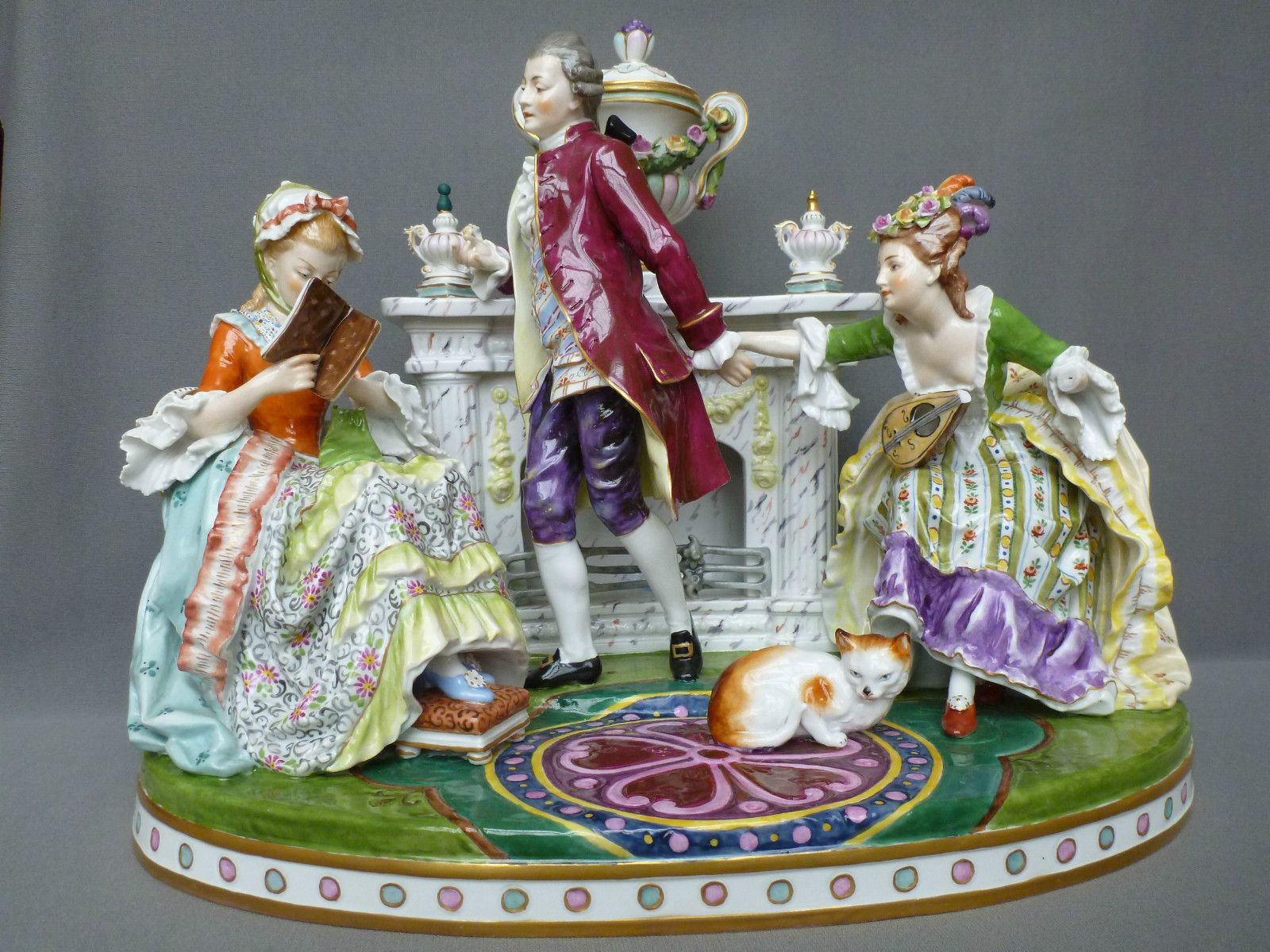 Rare Antique German Porcelain Group Figure Dresden
