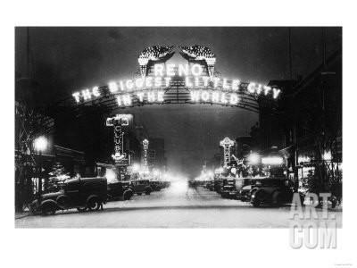 Famous Reno Entrance Sign Lit Up at Night - Reno, NV Art Print by Lantern Press at Art.com