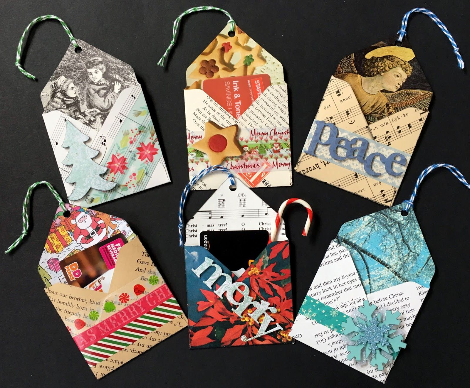 use the envelope punch board to make these holders for gift cards, ATCs, photos, more - hang them on the tree or tie to a gift