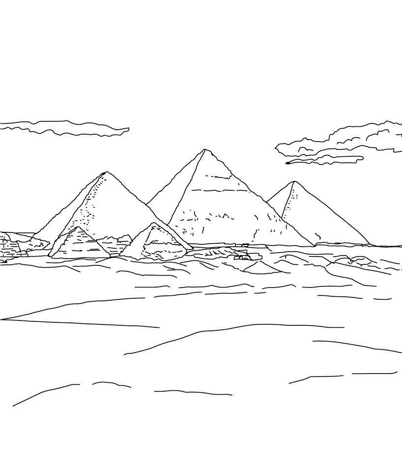 Giza Pyramid Coloring Pages Pyramids Geometric Symbols Great