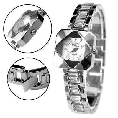FW888B New Shiny Silver Band Rectangular White Dial Ladies Women Bracelet Watch