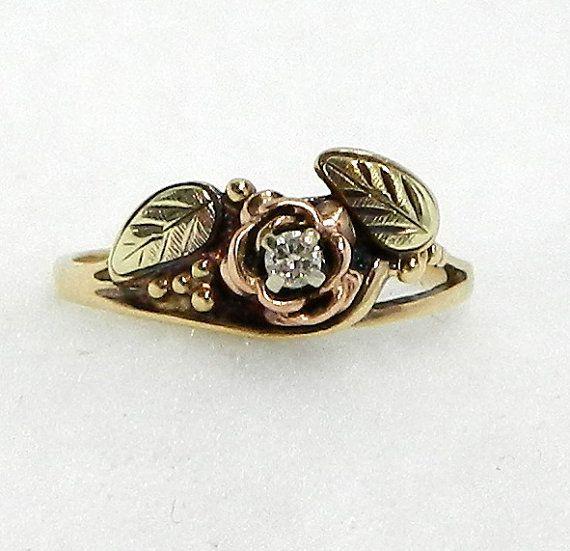 EXQUISITE vintage Black Hills 10kt gold ring with diamond WONDERFUL