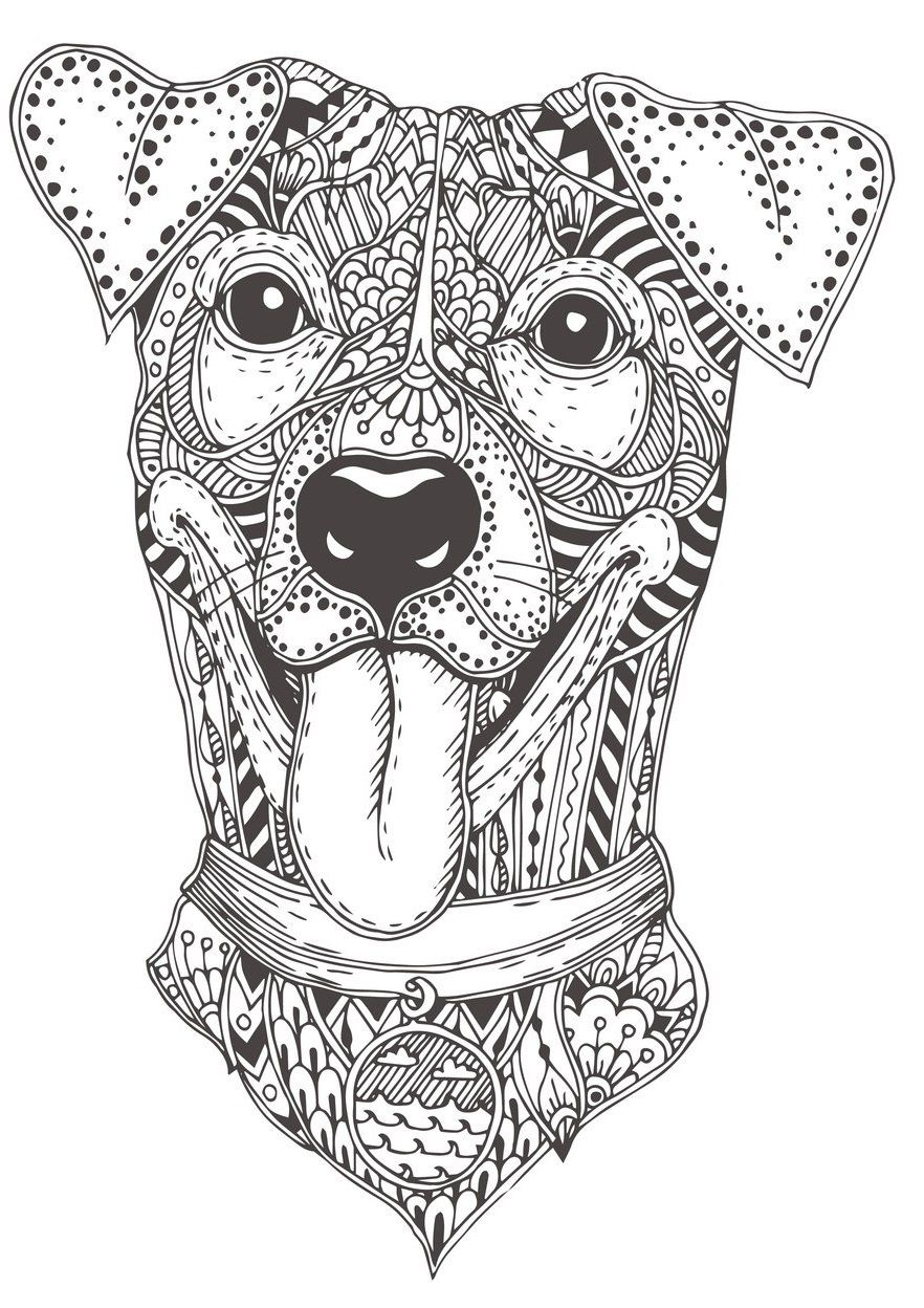 Mandala Dogs Coloring Book Relaxing Cute Ornamental Dog Breeds Rachel Mintz Coloring Books Dog Coloring Book Cute Dogs Pet Portraits