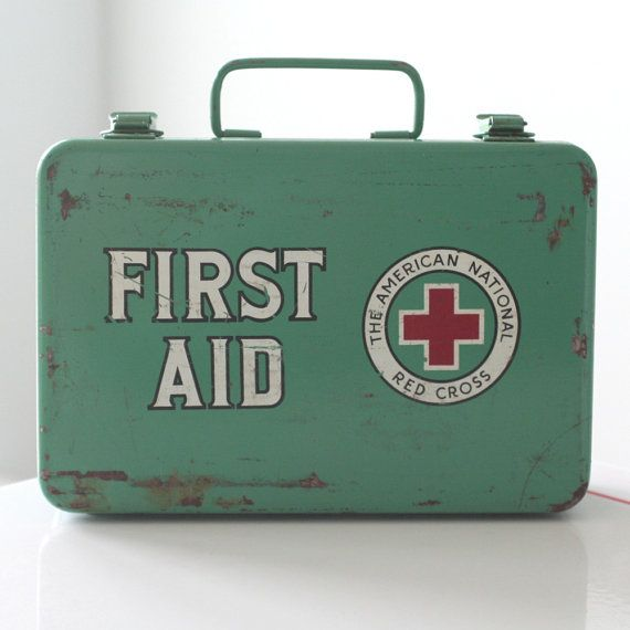 First Aid Kit   Vintage Medical First Aid Kit  The American National Red Cross First Aid Kit  Medical Kit  Survival