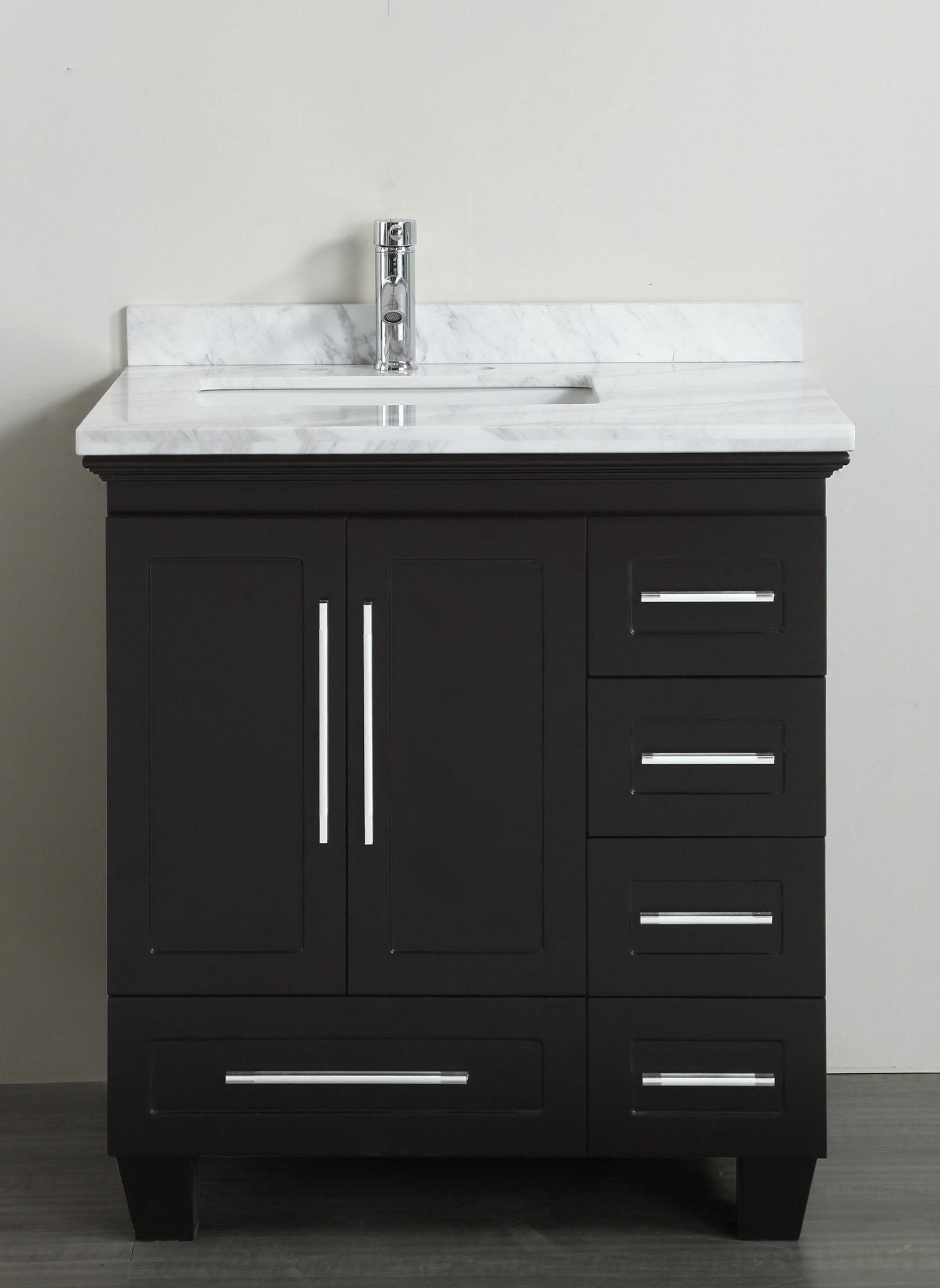 Accanto Contemporary 30 Inch Espresso Finish Bathroom Vanity Marble Top Topluxu 30 Inch Bathroom Vanity Modern Bathroom Vanity Single Bathroom Vanity