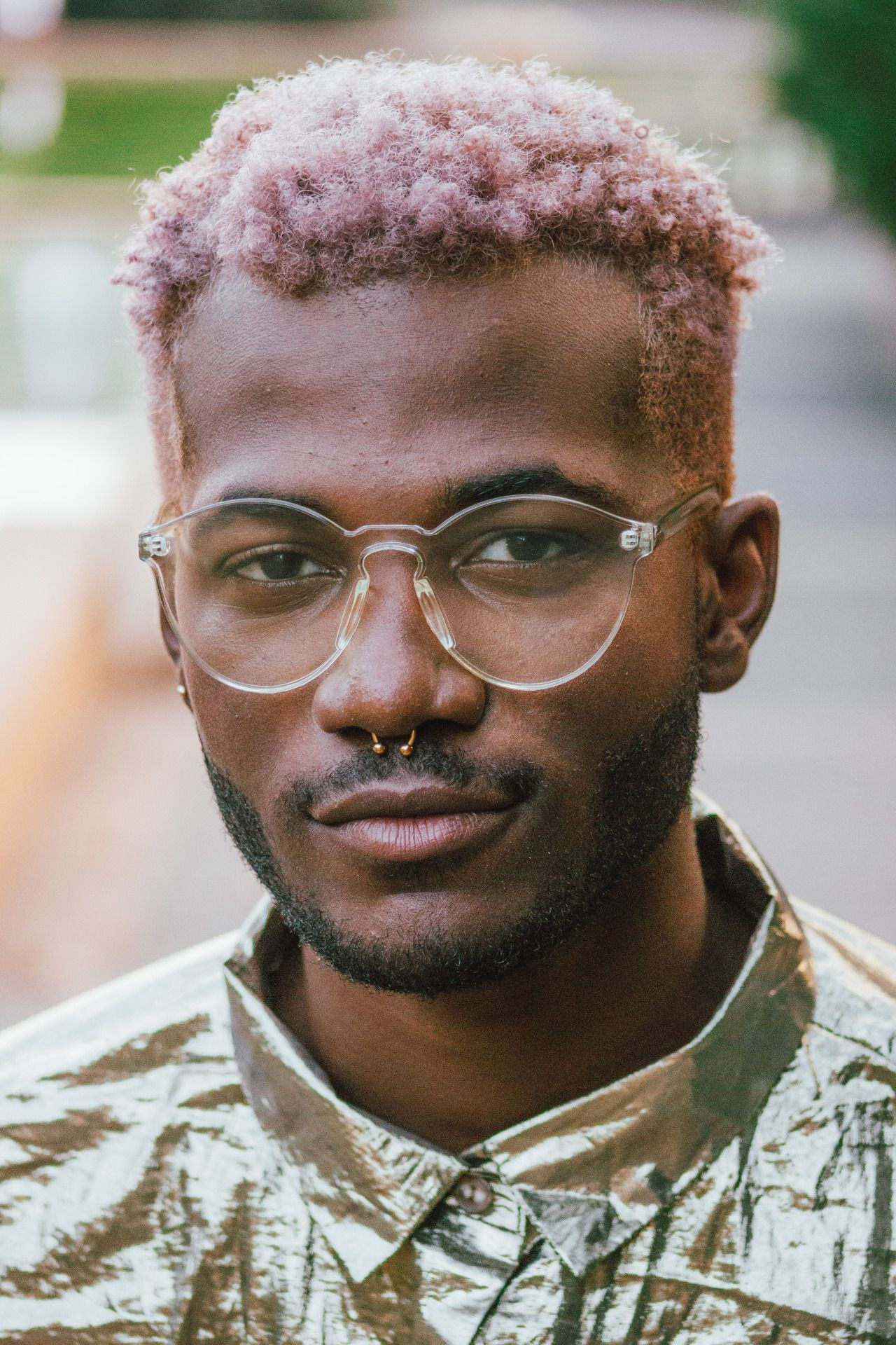 Clear Frames With A Metallic Shirt Men Hair Color Mens Hairstyles Curly Hair Styles