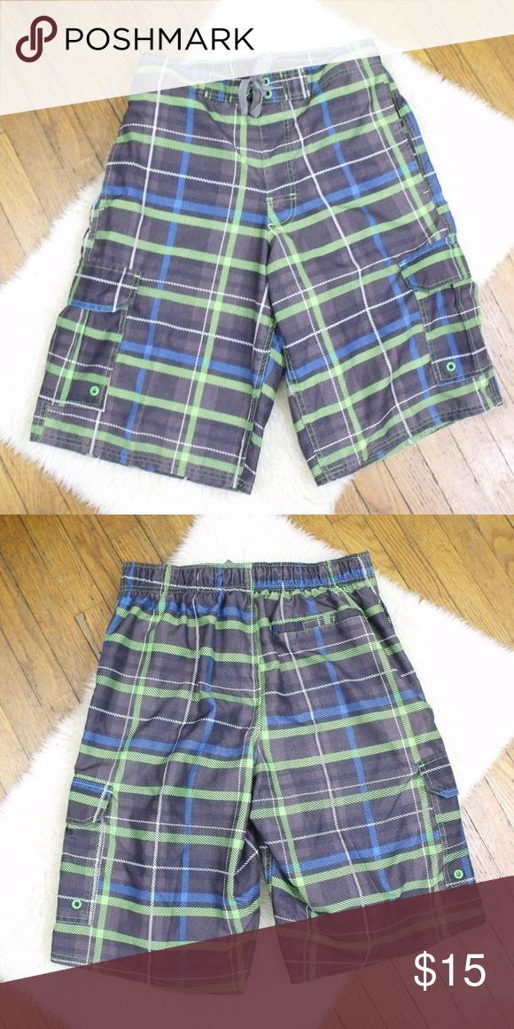 9a3f81a06d Airwalk Plaid Swim Trunks Size: Small ~ Airwalk plaid swim trunks.  Drawstring waist,