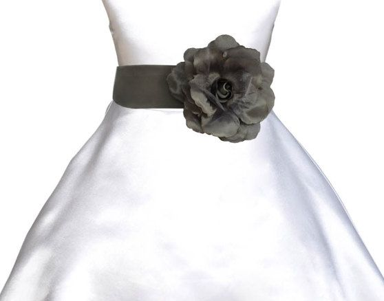 Satin Poly Tie bow sash mercury grey for holiday by ekidsbridalusa