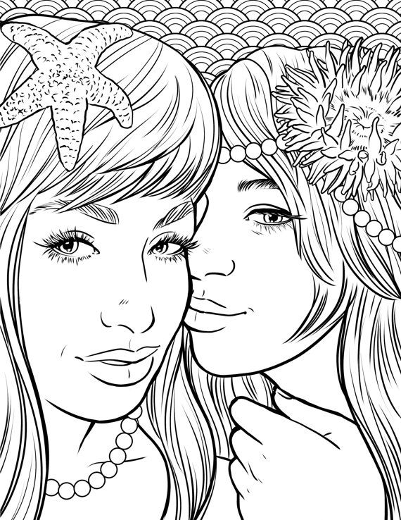 Pretty Mermaids Makeup Coloring Page Coloring Page For Adults Mermaid Coloring Pages Mermaid Coloring Book Mermaid Coloring