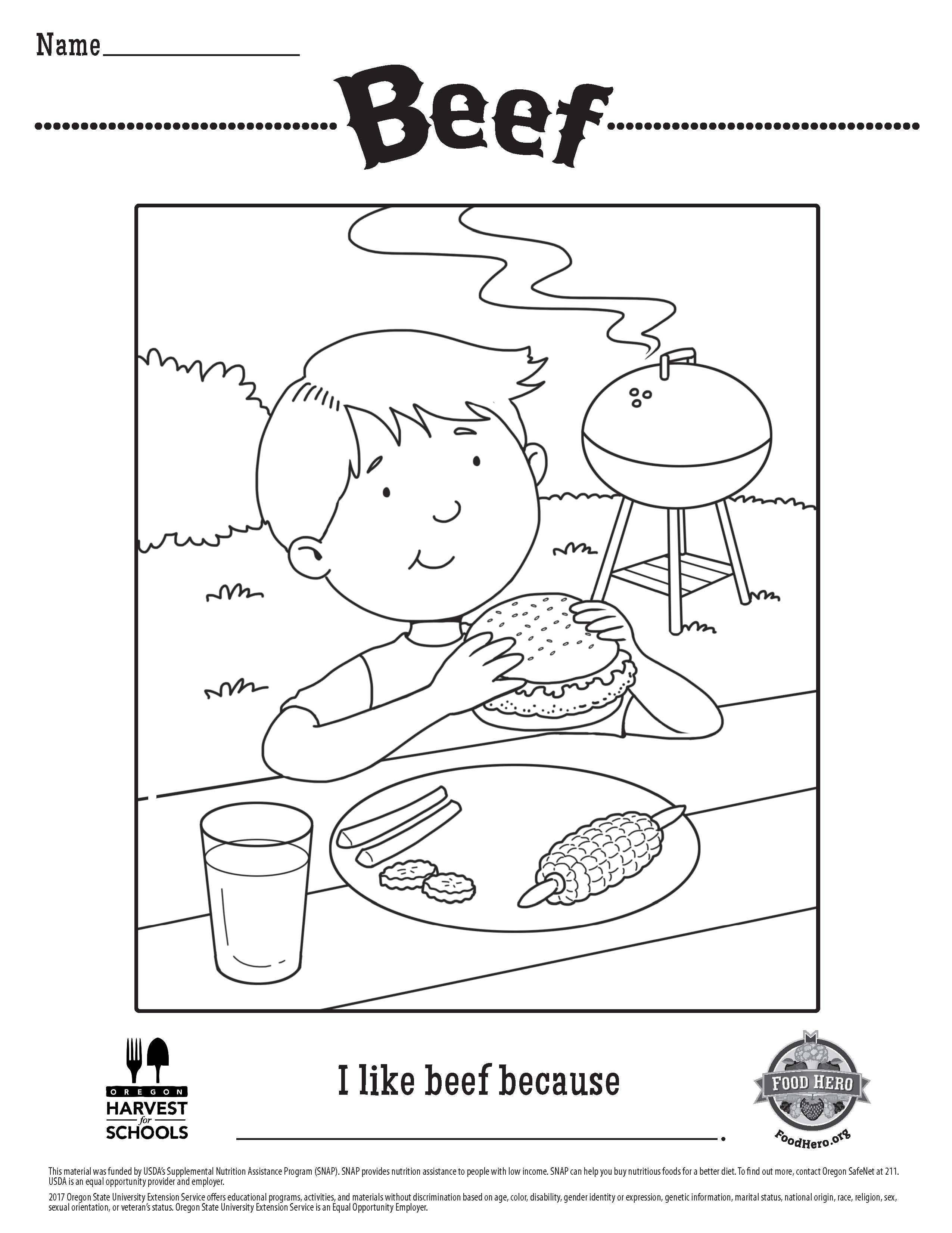 Food Hero Free Printable Coloring Sheet About Beef