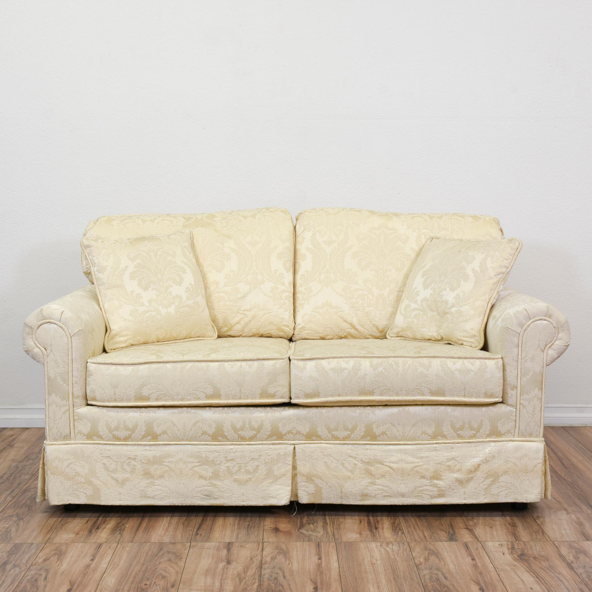"Krause s"" Cream Floral Damask Loveseat Sofa"