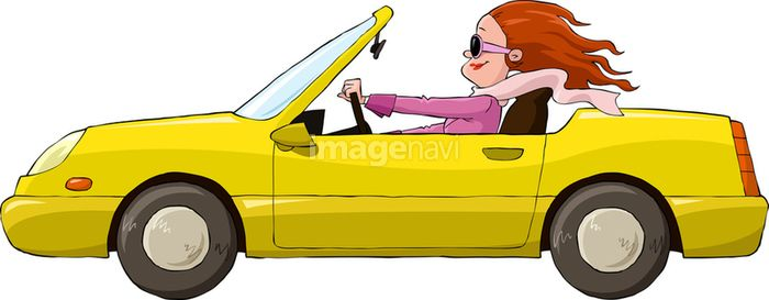 A Woman In A Yellow Car Vector Illustration 19060271 の