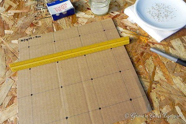 Seed spacer cardboard template
