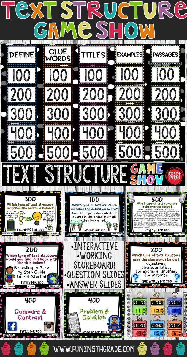 Nonfiction Text Structure Game Show Test Prep Review Text