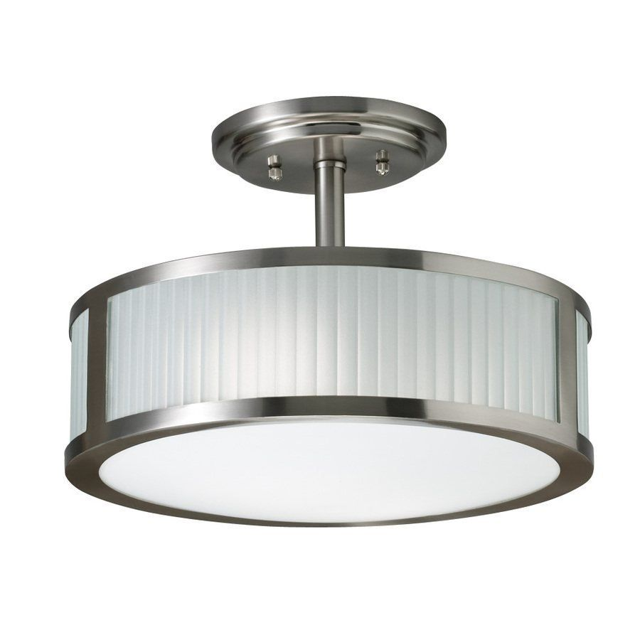 3 light allen roth 13 in brushed nickel frosted glass semi flush shop allen roth brushed nickel frosted glass semi flush mount light at lowe canada find our selection of semi flush ceiling lights at the lowest price mozeypictures Choice Image