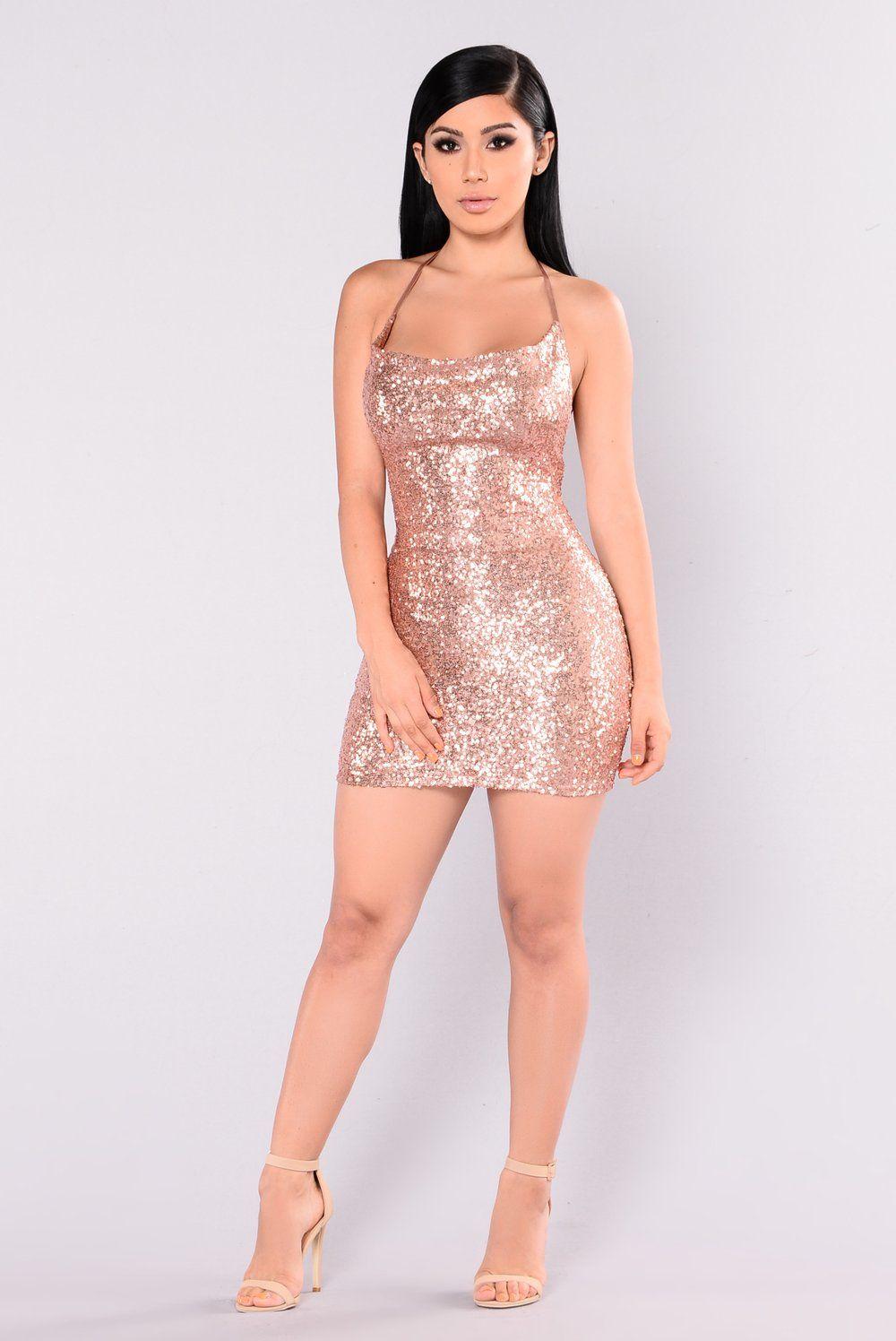 Start The Show Sequin Dress Rose Gold Gold Dress Short Sequin Dress Short Rose Gold Dress Short
