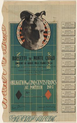 """Marcel Duchamp: Monte Carlo Bond (No. 12). 1924. Cut-and-pasted gelatin silver prints on lithograph with letterpress, 12 1/4 x 7 1/2"""" (31.2 x 19.3 cm). Gift of the artist. © 2013 Artists Rights Society (ARS), New York / ADAGP, Paris / Estate of Marcel Duchamp"""