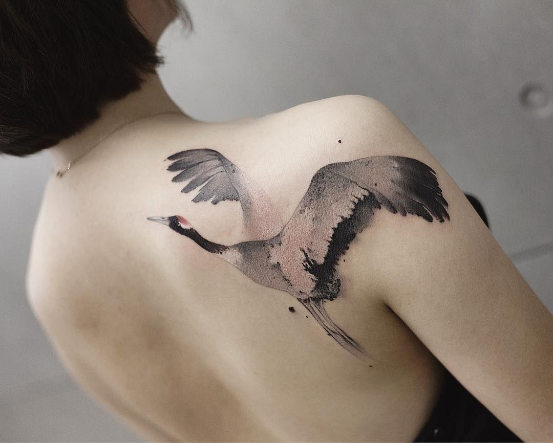 Chen Jie Newtattoo Crane Bird Tattoo Crane Tattoo Shoulder Blade Tattoo Tattoos