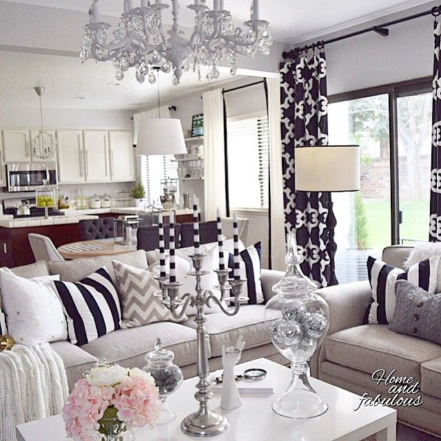 Best Black Grey White Glam Living Room Decor Glam Living 640 x 480