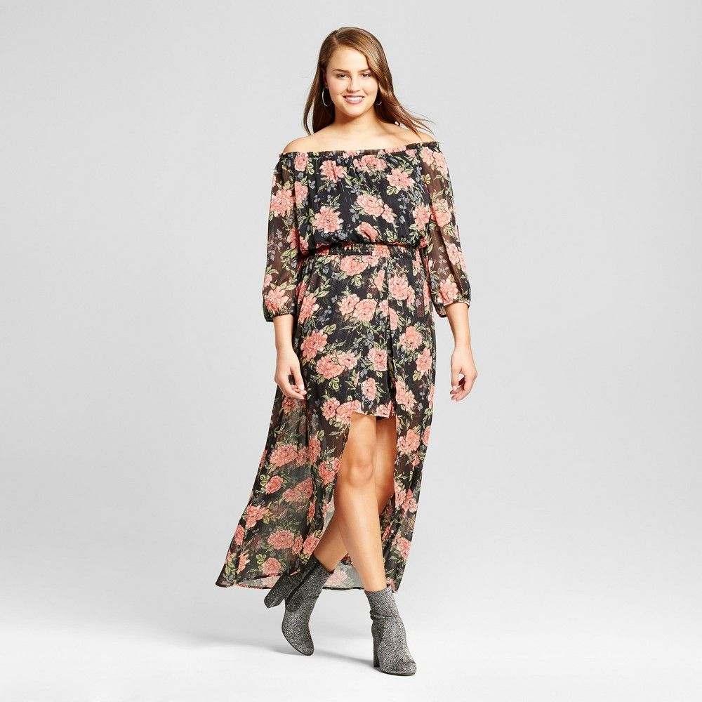 963b406e698 Women s Plus Size Floral Print Woven Walk Thru Dress - Xhilaration Black 1X