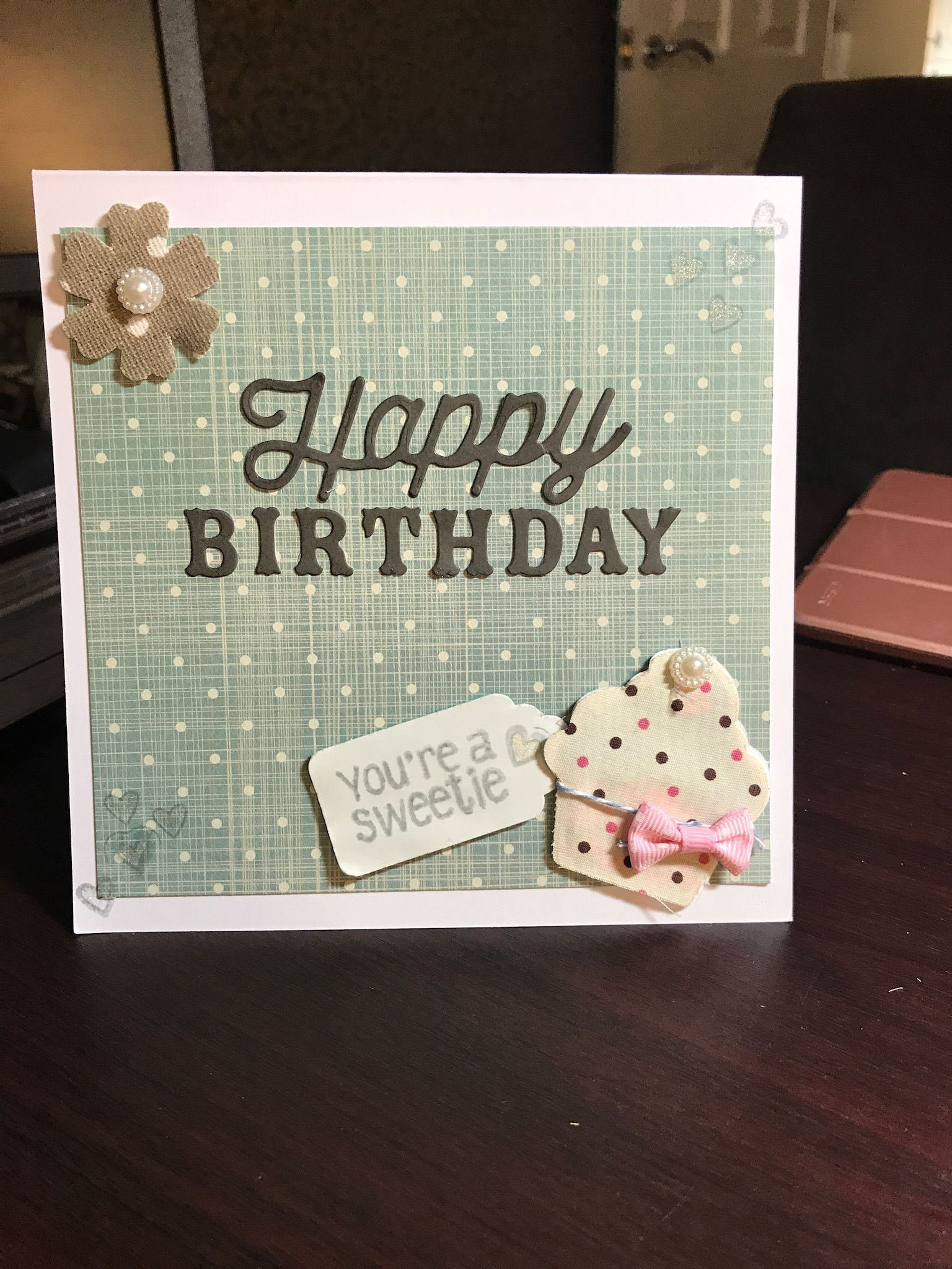 Happy Birthday Card Using Cardstock And Fabric 299 Free Delivery By Nicky Radford