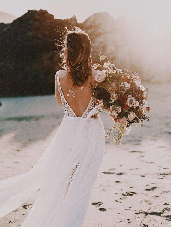 Laguna Beach Bohemian Wedding Dress Lace Beach Wedding Gown