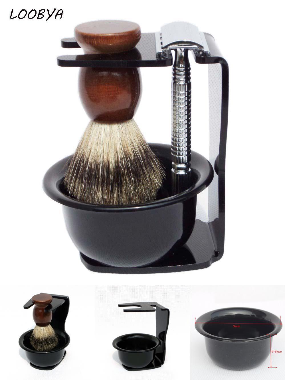 [Visit to Buy] 4pc/set Shaving Kit Badger Shaving Brush