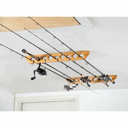 Organized Fishing Wooden Ceiling Horizontal Rod Rack, 9