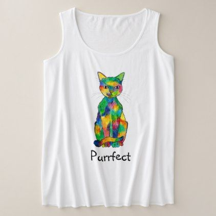 rainbow cat purrfect plus-size tank top $26.35 by polenth - cyo