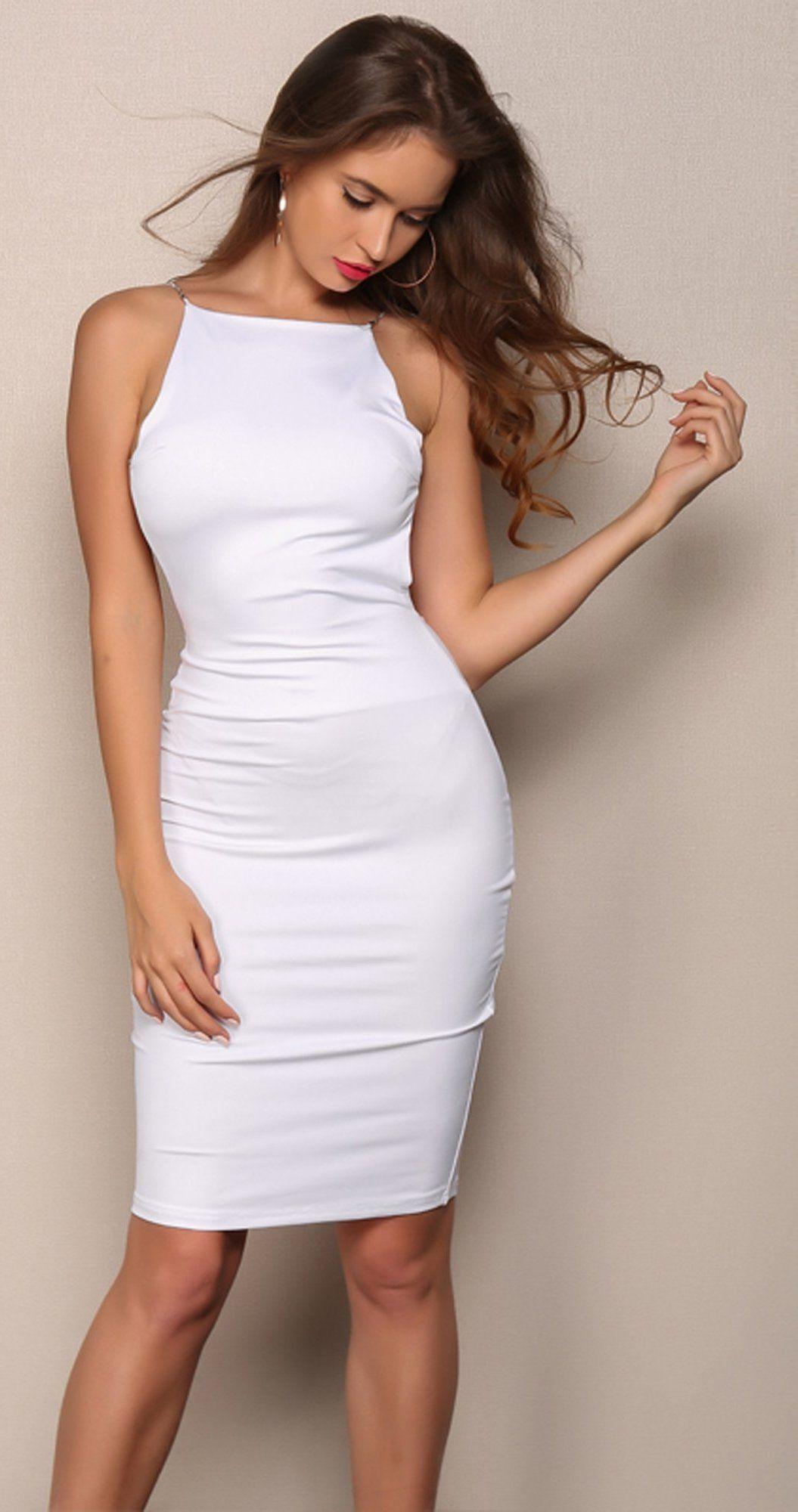 3425730c5 Cocktail Evening Spring Dresses Outfit Ideas for Going Out Party - White  Backless Halter Neck Midi Dress for Women - Vestidos de noche de cóctel  Ideas de ...