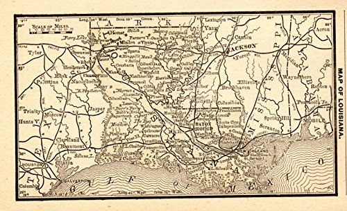 Antique Louisiana Map Rare Size Miniature Map Of Lou Https - 1888 us map