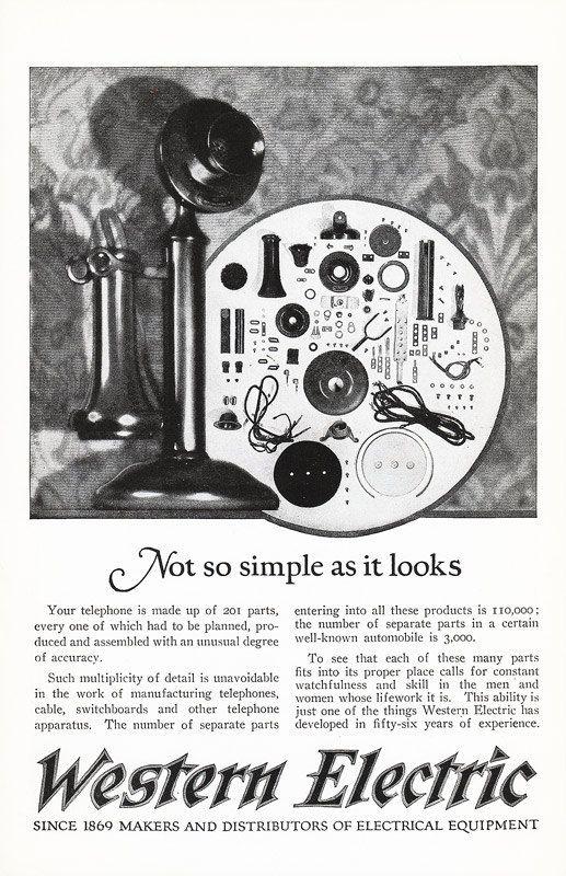 1925 Candlestick Telephone Advertisement Western