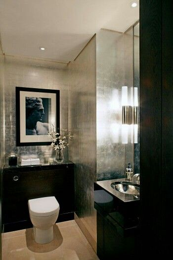 Silver Walls Silver Bathroom Black Bathroom Bathroom Decor