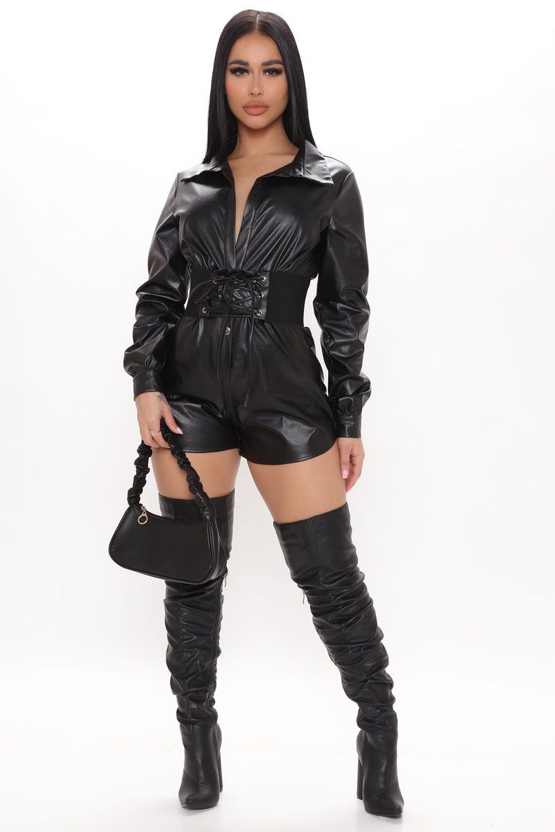 Queen Of The Night Leather Romper – Black