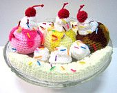 PDF Crochet Food Pattern - Banana Split Ice Cream. $4.50, via Etsy.