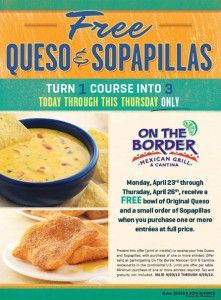 on the border free queso sopapillas good cheap free food