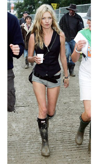Kate Moss at the the Glastonbury music festival in 2005. via Harper's BAZAAR