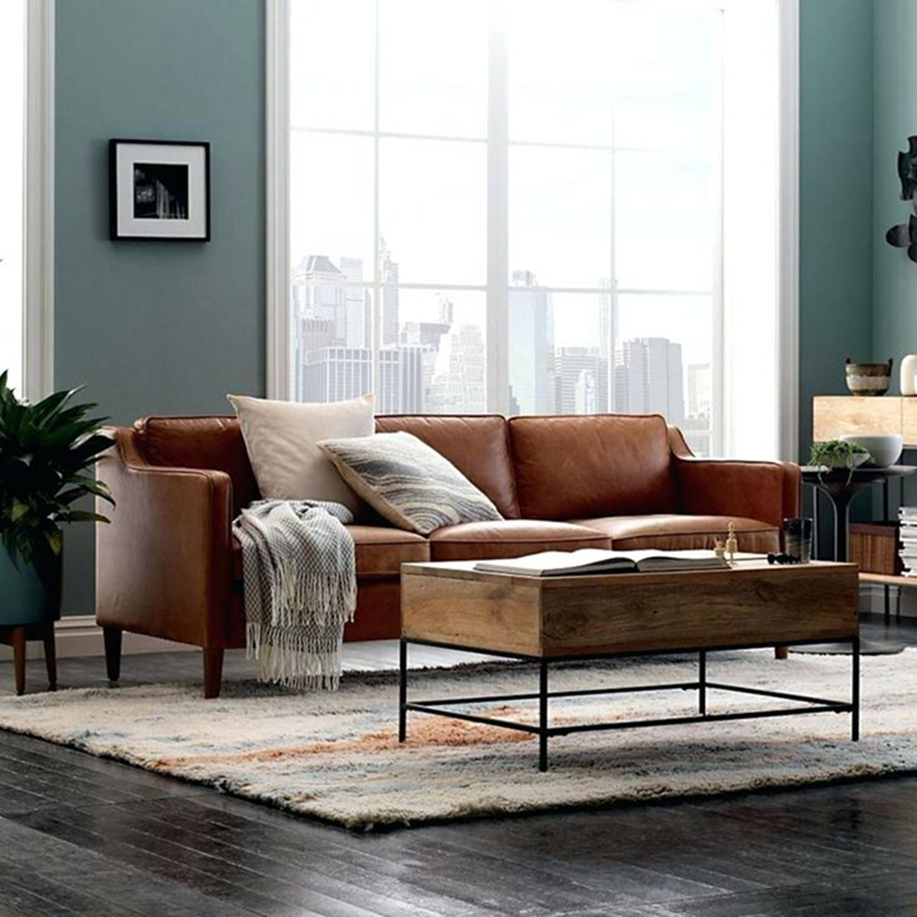 10 Beautiful Sofa Ideas For Your Minimalist Living Room Leather Sofa Living Room Brown Sofa Decor Leather Couches Living Room