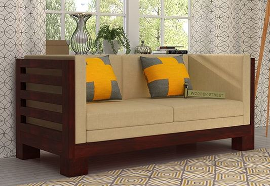Hizen 2 Seater Wooden Sofa With Mahogany Finish Reflects Elegant Style And Beautifies The Space The Snug Offered In 2020 Wooden Sofa Designs Sofa Set Sofa Set Online