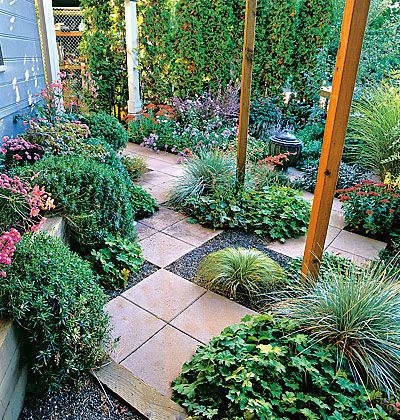 Using pavers and water saving plants in shade garden for Water saving garden designs