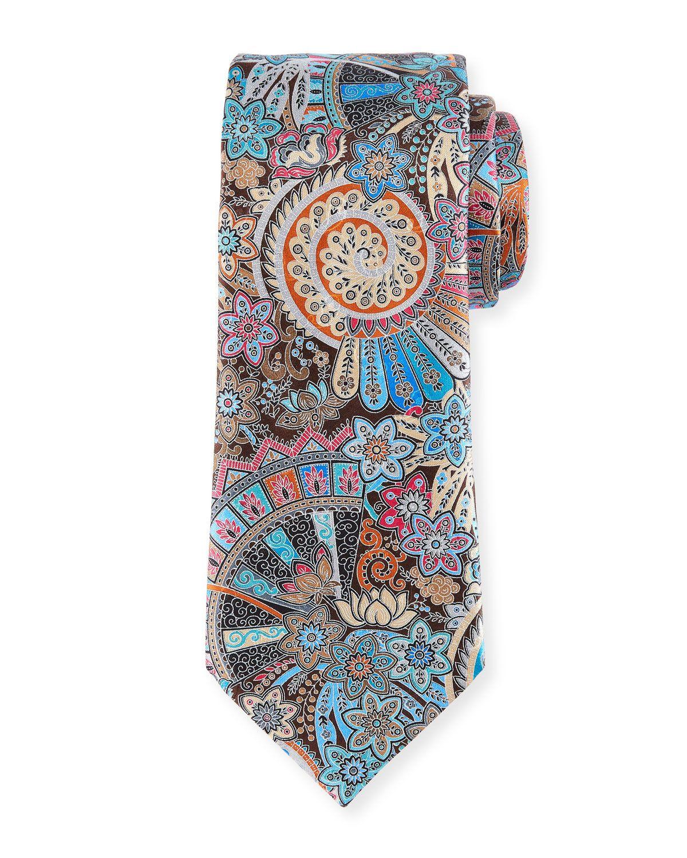 9a380b68 Ermenegildo Zegna Peacock Printed Silk Tie, Brown   Neiman Marcus ...