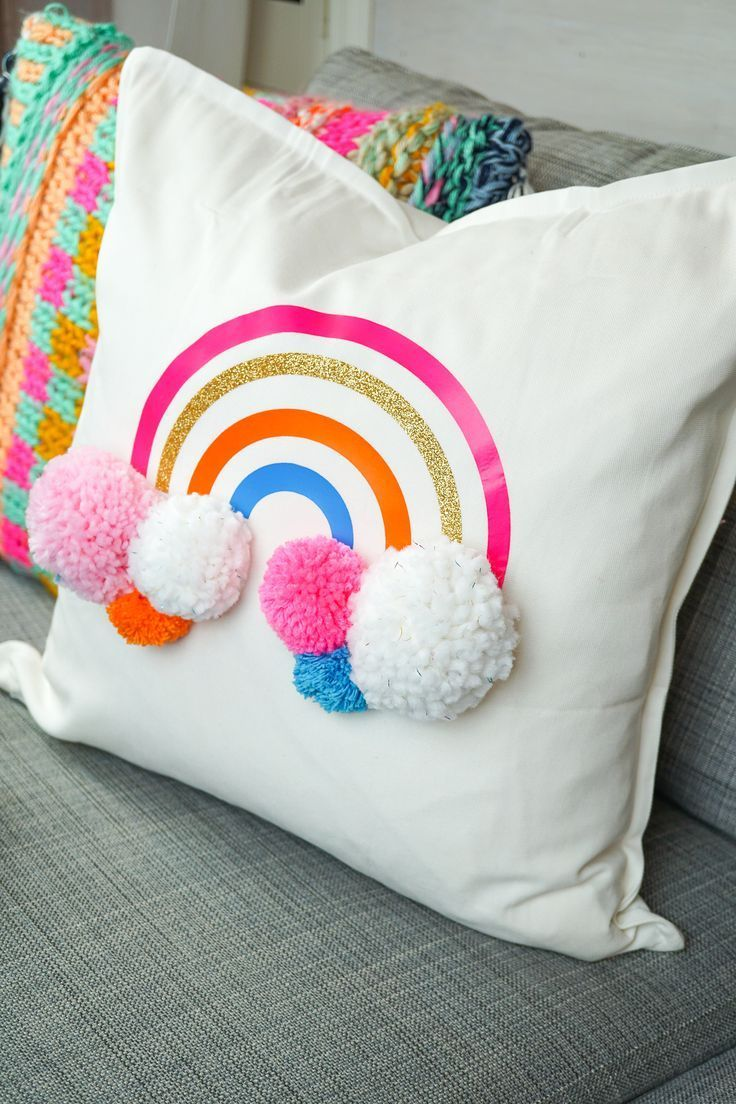 DIY Rainbow Pom Pom Pillow with Cricut Iron on Vinyl images
