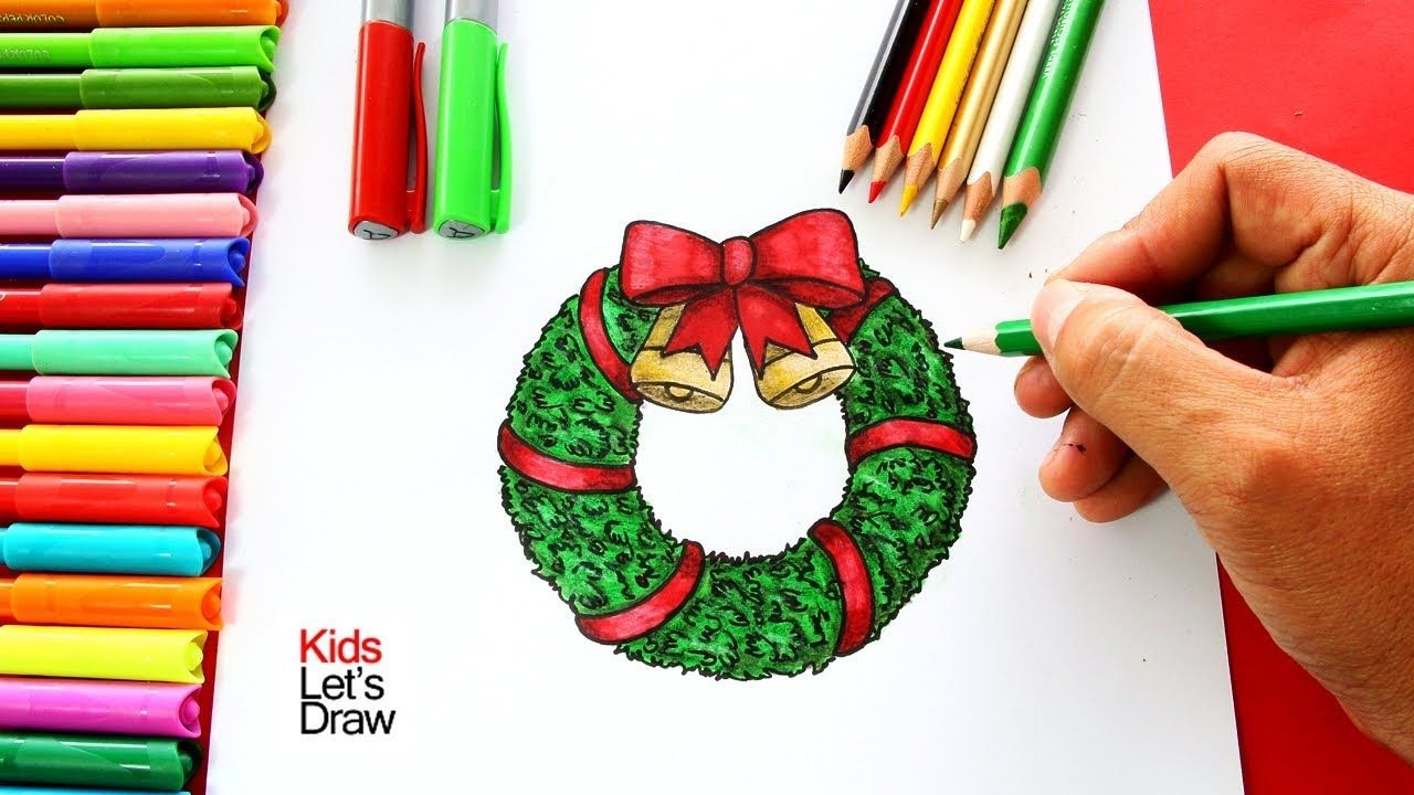 Ca Mo Dibujar Una Corona De Navidad Paso A Paso How To Draw A Christmas Wreath Youtube Corona De Adviento Dibujo Coronas Navidenas Coronas De Navidad