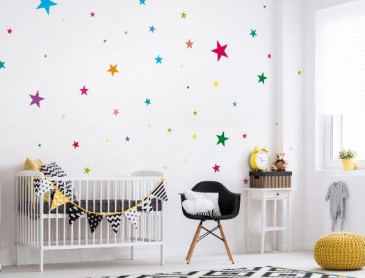 Kinderzimmer sterne  Bunte Wandsticker Sterne für Kinderzimmer - 50 Stück | Wandsticker ...